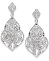 Macy's - Diamond Pavé Drop Earrings (1/4 Ct. T.w.) In Sterling Silver - Lyst