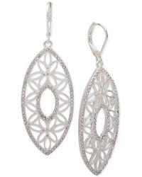 Anne Klein - Cubic Zirconia Openwork Drop Earrings - Lyst