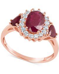 Macy's - Certified Ruby (1-9/10 Ct. T.w.) & Diamond (1/3 Ct. T.w.) Ring In 14k Rose Gold - Lyst