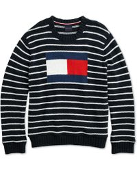 Tommy Hilfiger - Flag Intarsia Sweater With Magnetic Closures - Lyst