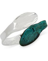 Robert Lee Morris - Silver-tone Patina Sculptural Hinged Bangle Bracelet - Lyst