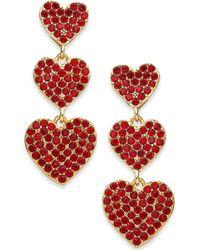 Kate Spade - Rose Gold-tone Pavé Heart Triple-drop Earrings - Lyst