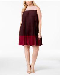 Alfani - Petite Pleated Colorblocked Dress, Created For Macy's - Lyst