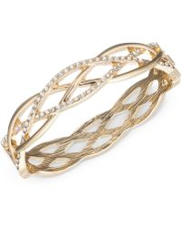 Anne Klein - Gold-tone Braided-style Pavé Bangle Bracelet - Lyst
