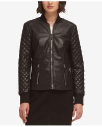 DKNY - Faux-leather Quilted Jacket, Created For Macy's - Lyst