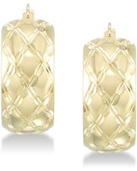 Signature Gold - Tm Diamond Accent Patterned Hoop Earrings In 14k Gold Over Resin - Lyst