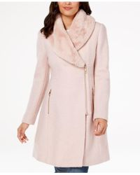 INC International Concepts - I.n.c. Faux-fur-trim Asymmetrical Walker Coat, Created For Macy's - Lyst