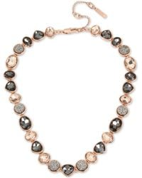 Kenneth Cole - Rose Gold-tone Multi-stone Collar Necklace - Lyst