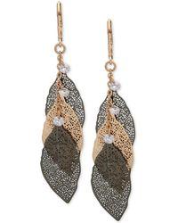 Lonna & Lilly - Two-tone Crystal Leaf Drop Earrings - Lyst