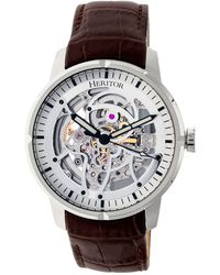 Heritor - Automatic Ryder Brown & Silver & Silver Leather Watches 44mm - Lyst