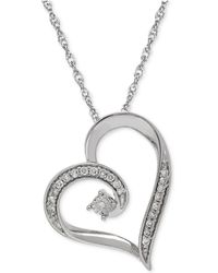 Macy's - Diamond Heart Pendant Necklace In Sterling Silver (1/10 Ct. T.w.) - Lyst