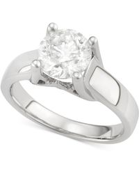 Macy's - Certified Diamond Solitaire Engagement Ring In 14k White Gold (2 Ct. T.w.) - Lyst
