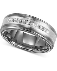 Triton Men S Tungsten Carbide And Diamond Wedding Band Ring In Sterling Silver 1