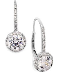 Arabella - Cubic Zirconia Leverback Earrings In 14k White Gold (3 Ct. T.w.) - Lyst