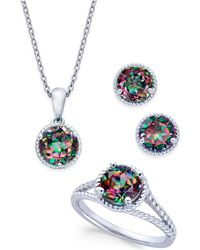 Macy's | Mystic Quartz Rope-style Pendant Necklace, Stud Earrings And Ring Set (4 Ct. T.w.) In Sterling Silver | Lyst