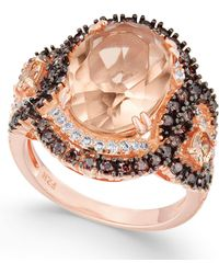 Macy's - Synthetic Morganite & Cubic Zirconia Ring In 14k Rose Gold-plated Sterling Silver - Lyst