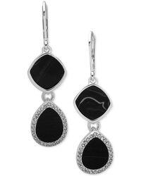 Nine West - Silver-tone Pavé & Stone Double Drop Earrings - Lyst