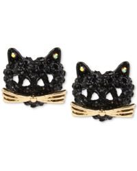Betsey Johnson - Two-tone Pavé Black Crystal Cat Stud Earrings - Lyst