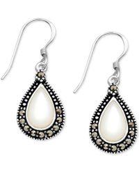 Macy's - Mother-of-pearl & Marcasite Teardrop Drop Earrings In Fine Silver-plate - Lyst