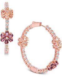 Joan Boyce - Flower Crystal Pavé Hoop Earrings - Lyst