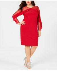 27a8d347b5664 Lyst - R   M Richards Plus Size Illusion Ruffle Sheath Dress in Black
