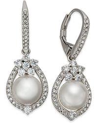 Danori - Silver-tone Imitation Pearl & Pavé Drop Earrings - Lyst
