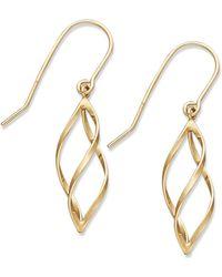 Macy's - 10k Gold Earrings, Spiral Drop Earrings - Lyst