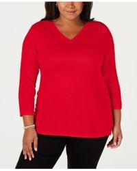 Karen Scott - Plus Size V-neck 3/4-sleeve Sweater, Created For Macy's - Lyst