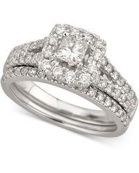 Macy's - Diamond Princess Halo Bridal Set (1-1/5 Ct. T.w.) In 14k White Gold - Lyst