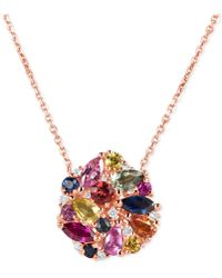 Macy's - Multi-sapphire (2-9/10 Ct. T.w.) And Diamond (1/10 Ct. T.w.) Pendant Necklace In 14k Rose Gold - Lyst