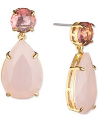 Carolee - Gold-tone Stone Drop Earrings - Lyst
