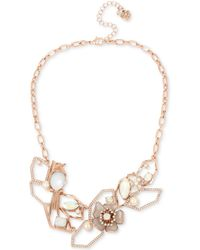 "Betsey Johnson - Rose Gold-tone Crystal & Imitation Pearl Openwork Statement Necklace, 16"" + 3"" Extender - Lyst"