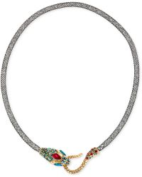 Betsey Johnson | Gold-tone Mesh Crystal Snake Collar Necklace | Lyst