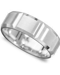 Macy's - Men's 14k White Gold Ring, Vertical Cut Band (size 6-13) - Lyst