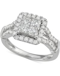 Macy's - Diamond Quad Halo Engagement Ring (1-1/2 Ct. T.w.) In 14k White Gold - Lyst