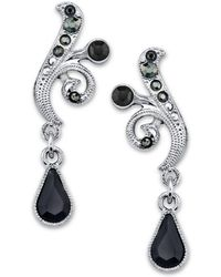 2028 - Silver-tone Black And Hematite Color Crystal Vine Drop Earrings - Lyst