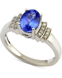 Macy's - Tanzanite (1 Ct. T.w.) And Diamond (1/10 Ct. T.w.) Ring In 14k White Gold - Lyst