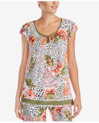 Ellen Tracy - Floral-print Flutter-sleeve Pajama Top - Lyst