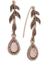 Lonna & Lilly - Gold-tone Pavé & Colored Stone Leaf Drop Earrings - Lyst