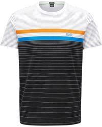 BOSS - Regular/classic-fit Striped Cotton T-shirt - Lyst