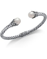 Macy's - Cultured Freshwater Pearl (8mm) Filigree Bangle Bracelet In Sterling Silver - Lyst