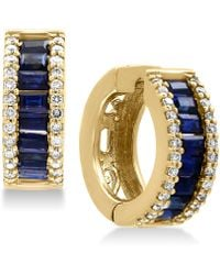 Effy Collection - Sapphire (1-1/2 Ct. T.w.) And Diamond (3/8 Ct. T.w.) Hoop Earrings In 14k Gold - Lyst