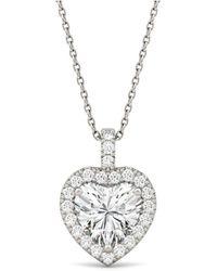 Charles & Colvard - Moissanite Heart Halo Pendant (2-1/8 Ct. Tw.) In 14k White Gold - Lyst