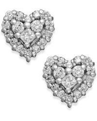 Effy Collection - Diamond Heart Stud Earrings In 14k White Gold (1/2 Ct. T.w.) - Lyst