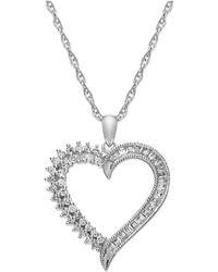 Macy's - Sterling Silver Diamond Heart Pendant Necklace (1/4 Ct. T.w.) - Lyst