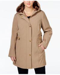 Via Spiga - Plus Size Printed-trim Hooded Coat - Lyst