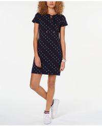 d8878f690c7 Tommy Hilfiger Plus Size Tie-neck Plaid Denim Shift Dress in Blue - Lyst