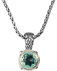 Effy Collection - Green Quartz Round Pendant (5 Ct. T.w.) In Sterling Silver And 18k Gold - Lyst