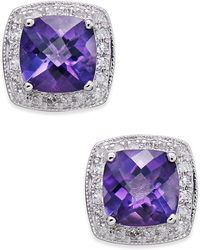 Macy's - Amethyst (1-5/8 Ct. T.w.) And Diamond (1/6 Ct. T.w.) Stud Earrings In 14k White Gold - Lyst