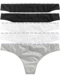 Calvin Klein - Plus Size Signature Cotton Logo Thong 5-pk. Qf5120 - Lyst